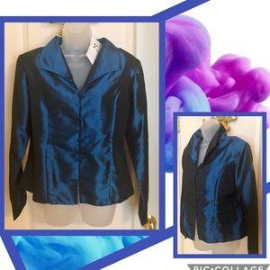 Blue Silk Top RARITIES Blouse Peacock Blue  NWT